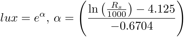 lux = e^a, a=(ln(Rs/1000)-4.125)/-0.6704