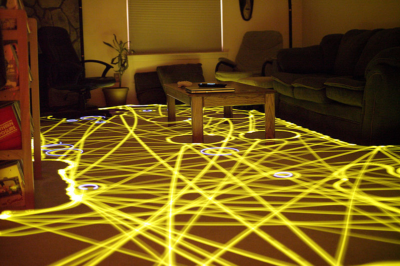 A time-lapse photo of the roomba's path