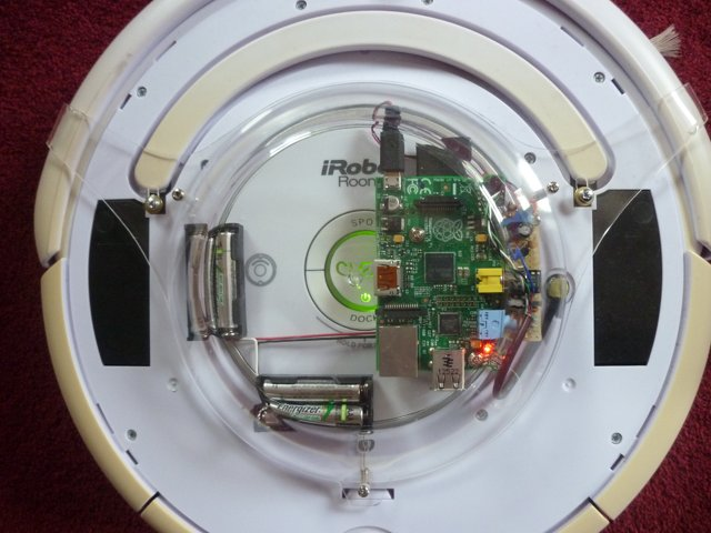 A raspberry pi on a Roomba - top view